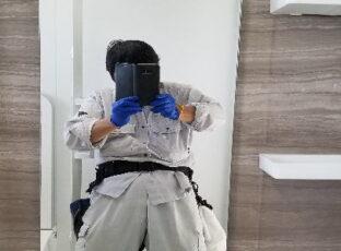 横浜市 A様 ご入居前のハウスクリーニング⑦ 浴室鏡の水垢落とし 2019.11月